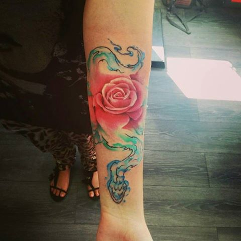 watercolor-rose-snake-tattoo